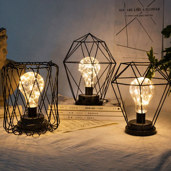 top popular 2021 New Battery Powered Vintage Table Bedside Hanging Lantern Night Light with Led Edsion Bulb for Christmas Decor Jze2 2021