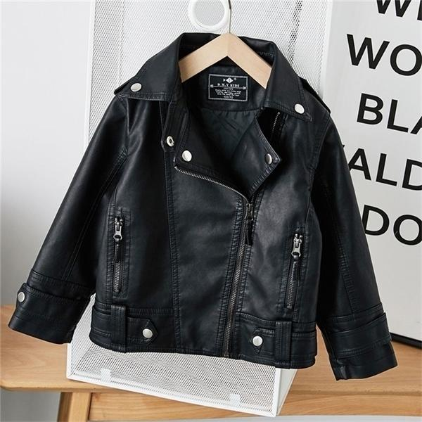 top popular Girls Boys Black Pu Zipper Jackets Kids Baby Leather Jacket Spring Autumn Cool Coat Children Clothes Overcoats 2-14T C1118 2021