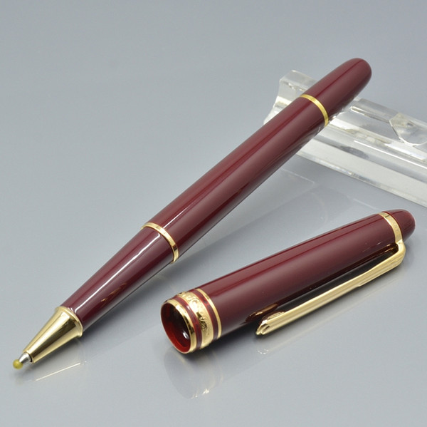 top popular hot sell wine red resin ballpoint pen   Roller ball pen   Fountain pen office stationery fashion lady Writing ink pens Christmas Gift 2021