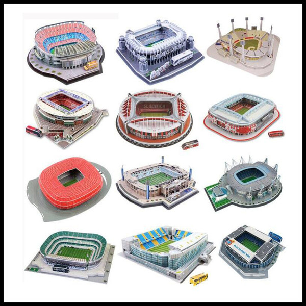 top popular Classic Jigsaw DIY 3D Puzzle World Football Stadium European Soccer Playground Assembled Building Model Puzzle Toys for Children 2021