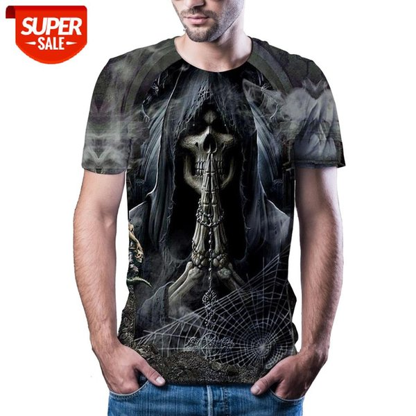 top popular New T-shirt men's high-quality men's T-shirt short-sleeved skull 3D printed fashion handsome #j63h 2021