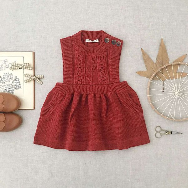 Red Jacquard Sleeveless Knitted Dress