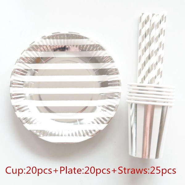 top popular 65pcs 20 People Party Paper Plates Napkins Cups Straws Disposable Tableware Metallic Silver Stripe Theme Party Wedding Decor1 2021