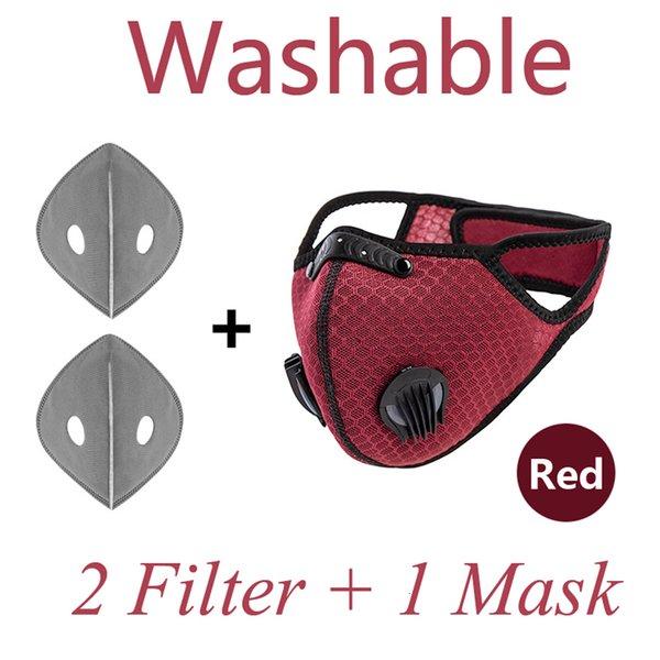 Masque de visage rouge 1pcs + filtres 2pcs