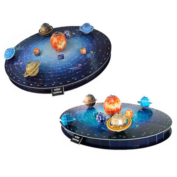 top popular 146Pcs Solar System Set Planet Board Game Paper DIY Jigsaw Toy 3D Puzzle Toys Model For Children Boys Y200413 2021