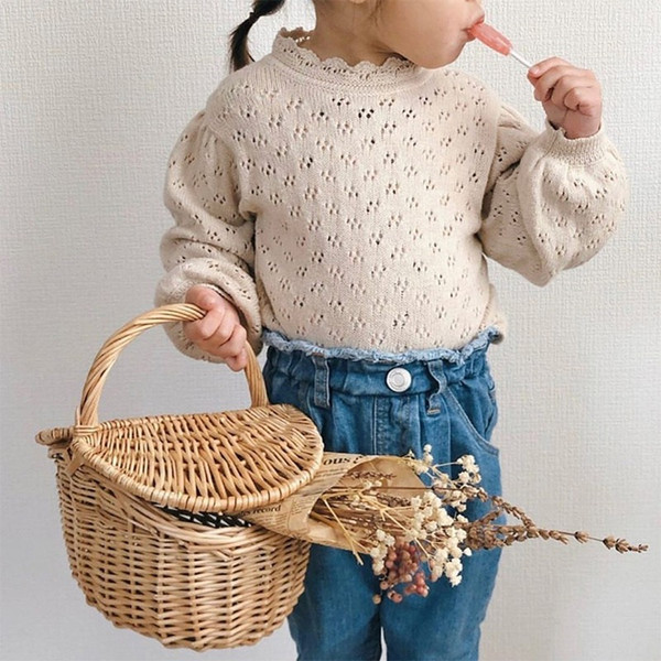 top popular Newest INS Knitted Girl's Lace Hollowed Pullover Out T-shirt Lantern Long Sleeve Bottoming T Shirt Princess Toddler Kids Sweater Top Clothes 2021