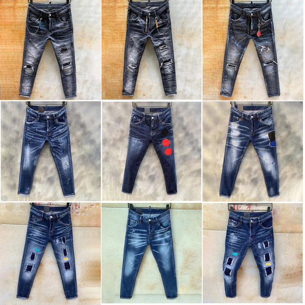 top popular Mens jeans Rips straight denim Jeans italy Fashion Slim Fit Washed Motocycle Denim Pants Panelled hip hopTrousers 11 style 2021