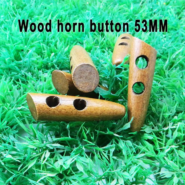 best selling 100PCS 53MM wooden horn BUTTON garment toggles clothes sewing COAT decoration buttons clothing accessory WHB-002R