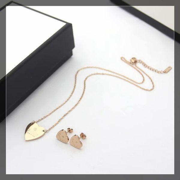 1 set / oro rosa (orecchini + collana)