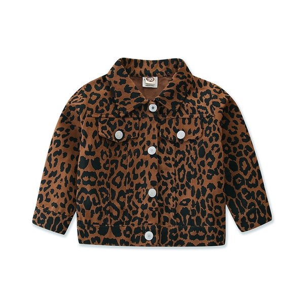 top popular Girl's Leopard Print Cardigan Coat Lapel Long Sleeve Button Casual Coat Kids Girls Jacket Spring Autumn Tops Children Outerwear Q1123 2020