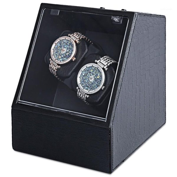best selling Wholesale-Automatic Watch Winder Auto Silent Watch Winder Irregular Shape Transparent Cover Wristwatch Box with US Plug1