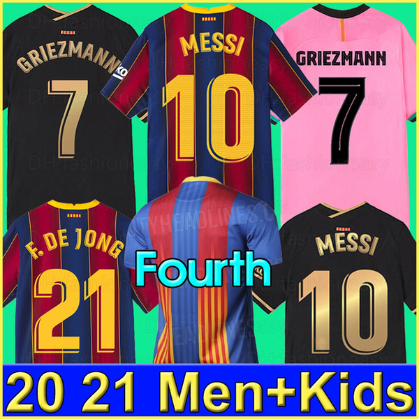 best selling Barcelona soccer jersey BARCA 20 21 camiseta de futbol ANSU FATI 2020 2021 MESSI GRIEZMANN F.DE JONG Maillots de football shirt men kids kit