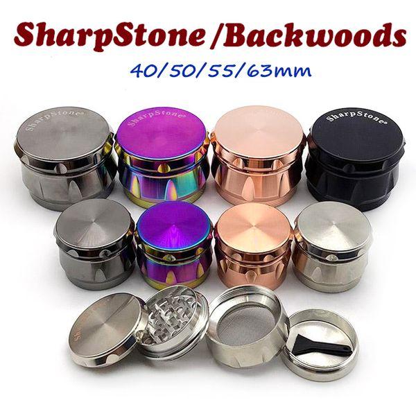 top popular Backwoods grinder Sharpstone Herb Grinder 4 Layers 40 50 55 63mm Metal Zinc Alloy Tobacco Crusher Dry Herbal Grinders OEM logo 2021