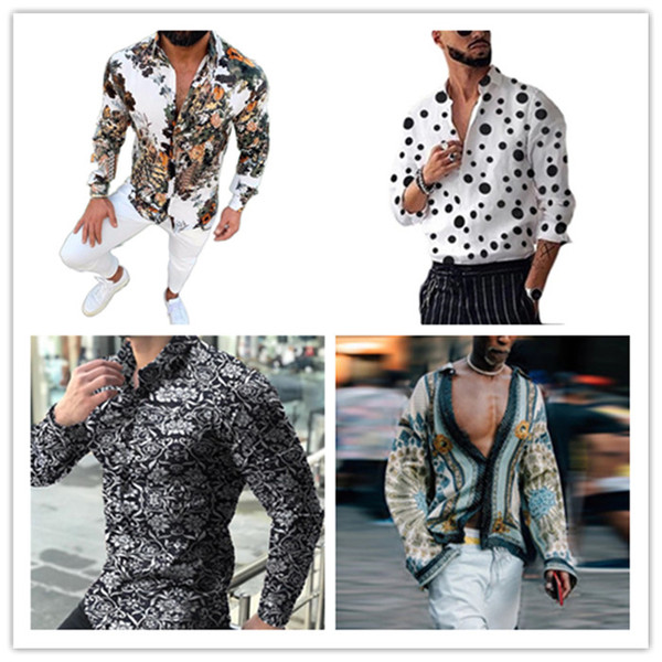 best selling 2021 Spring Digital Printed Shirt Mens Fashion Bohemian Shirts Homme Designer V Neck Tops Casual Mens Lapel Neck Shirts