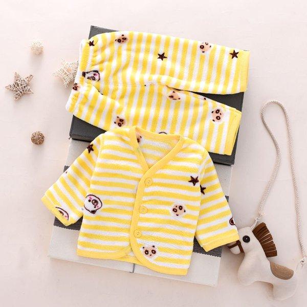 Желтый полосатый медведь фланелевый теплый костюм