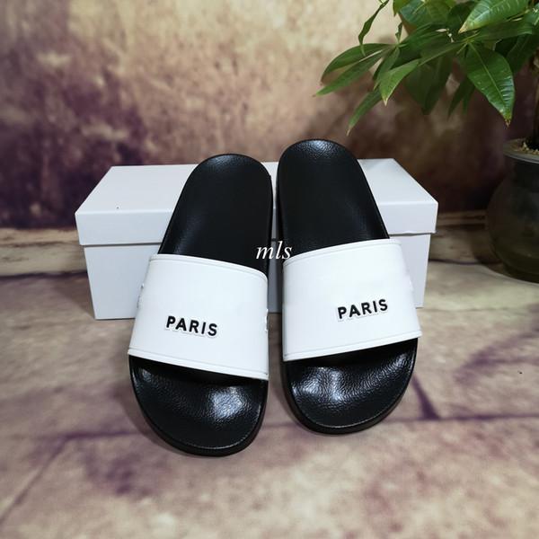 best selling Top Quality New Color Paris Sliders Mens Womens Summer Sandals Beach Slide Slippers Ladies Flip Flops Loafers Sky Blue Chaussures