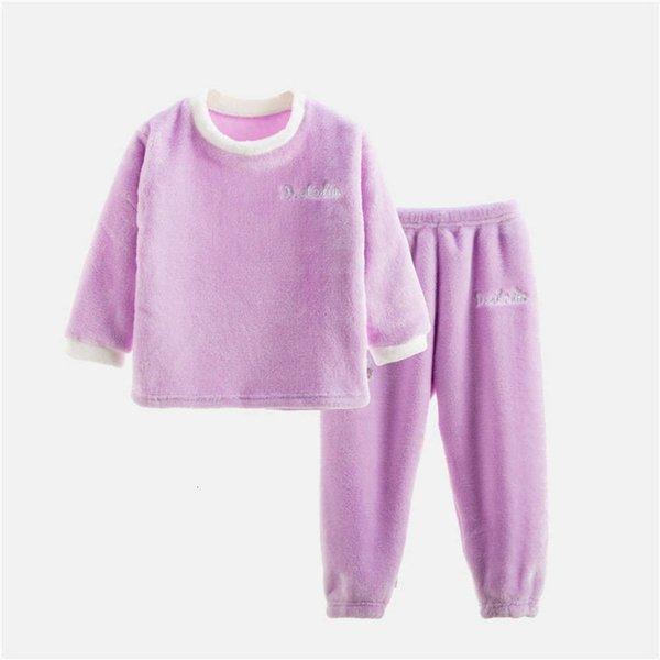 Flannel Long Set Purple