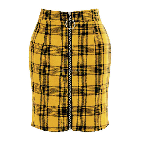 best selling Grid Front O ring zipper high waist skirt Slim Plaid Bodycon Mini Skirt Fashion women dresses clothes will and sandy new