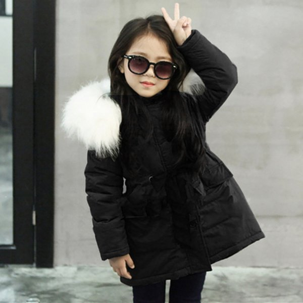 best selling Kids Plush Hooded Coat Baby Girl Fur' Hooded Tops Jacket Padded Coat Kids Long Thick Warm Jacket Parkas Ropa De Nia De 12 Aos Q1123