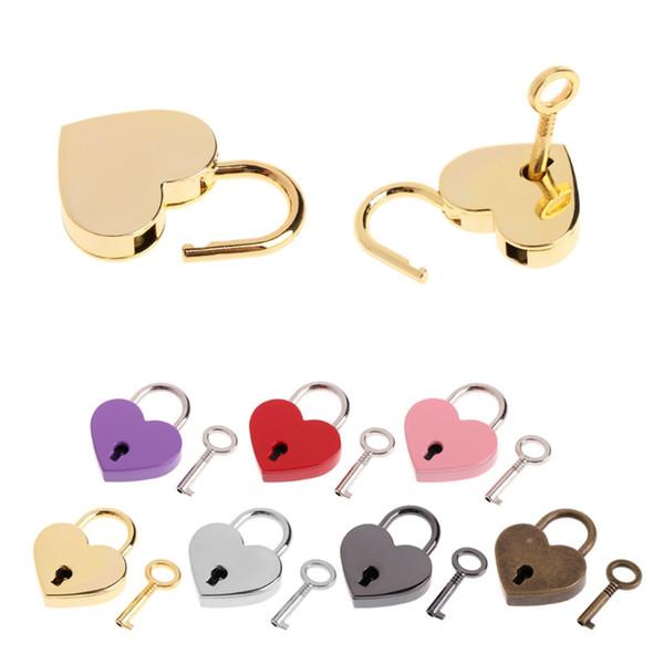 top popular Heart Shaped Padlocks Vintage Mini Love Padlocks With Key for Handbag Small Luggage Bag Diary Book DHA2698 2021