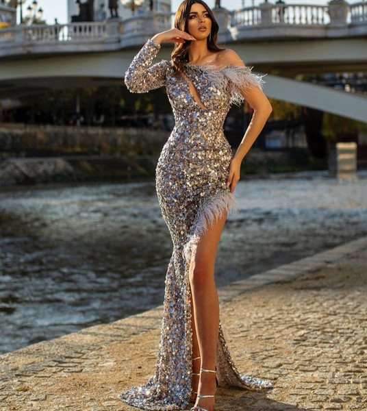best selling 2021 Sequined Evening Dresses One Shoulder Long Sleeves Side Split Prom Celebrity Gowns Feather Sexy Plus Size Formal Party Dress