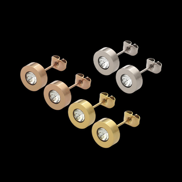 top popular New Arrival Top Quality Diamond Cute Size Extravagant Style Ear Studs Women Jewelry Stainless Steel Earrings For Girl Lady Gifts Wholesale 2021