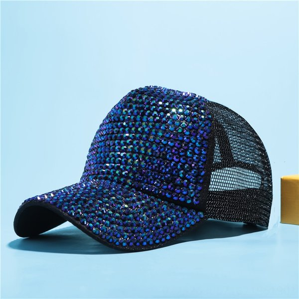 Black + Blue Green Diamond Net Gorra