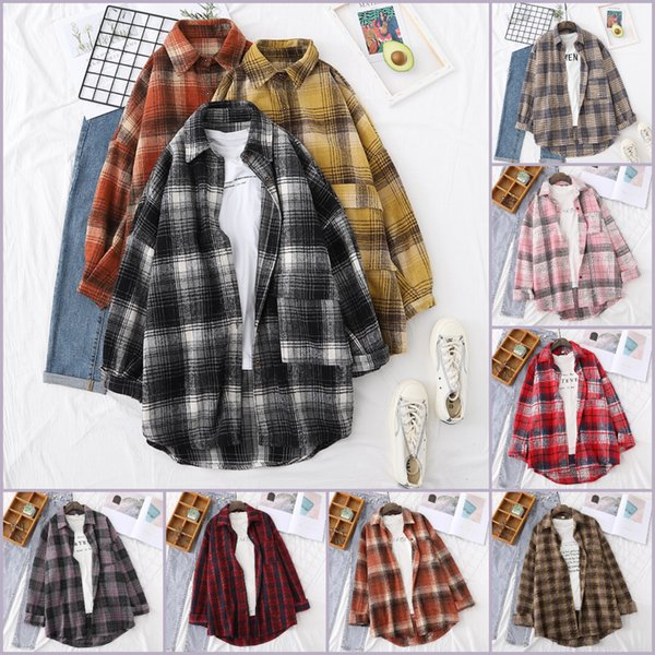 best selling Dropship Fashion Retro British Style Frosted Plaid Shirt for Women Men Lovers Loose Medium Length Thickened Casual Shirts