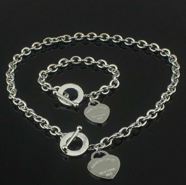 best selling Hot sell Birthday Christmas Gift 925 Silver Love Necklace+Bracelet Set Wedding Statement Jewelry Heart Pendant Necklaces Bangle Sets 2 in 1