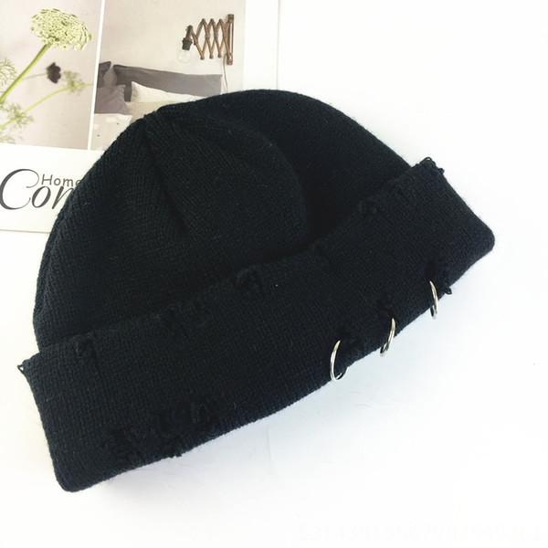 Chapeau tricoté cassé à trois anneaux - Noir