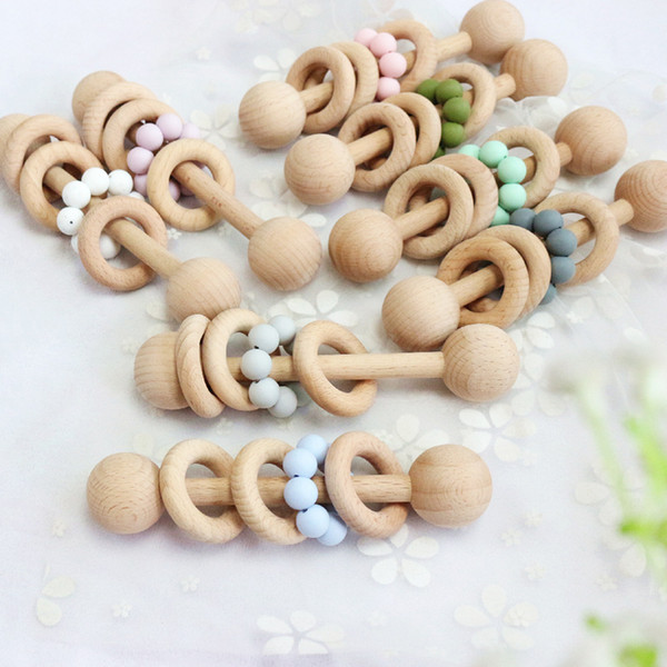 best selling INS Baby Teethers Teething Natural Wooden Ring Teethers Infant Fingers Exercise Toys Silicon Beaded Soother Baby Toy Z2062