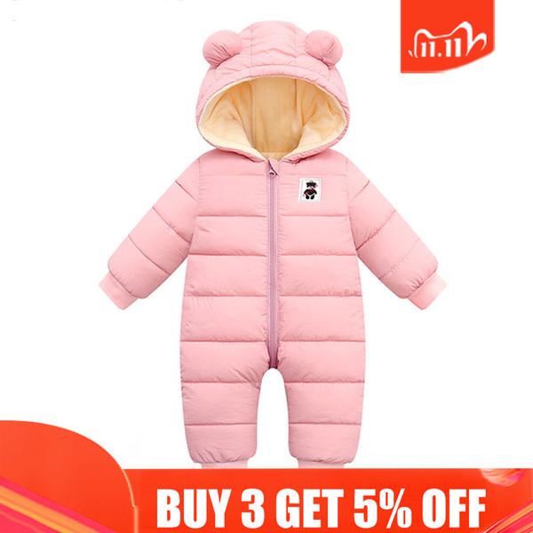 top popular Fashion Winter Overalls Children Baby Girl Clothes Hoodies Newborn Jumpsuit Baby Kids Snowsuit Snow Wear Boys Coats Clothing 2Y Q1123 2020