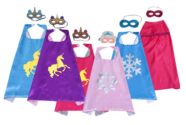 best selling Multi-style double layer Unicorn Superhero Cape and mask set 70*70CM kids Children Satin Fancy Dress Halloween cosplay costumes Party favors