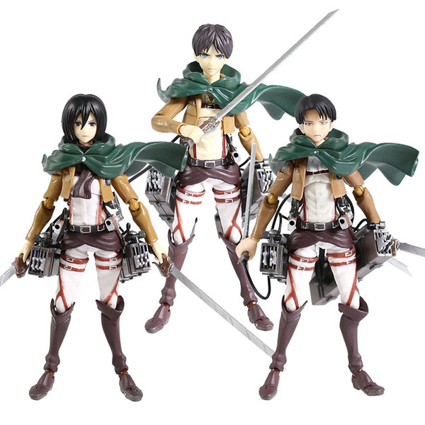 best selling Attack on Titan Figma Eren Jaeger 207 Mikasa Ackerman 203 Levi Ackerman 213 PVC Action Figure Collectible Model Toy Q1215
