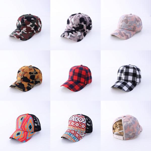best selling Women Ponytail Baseball Hat Adjustable Tucker Hat Criss Cross Camo Leopard Knit Caps Buffalo Plaid Ponytail Caps CYZ2906