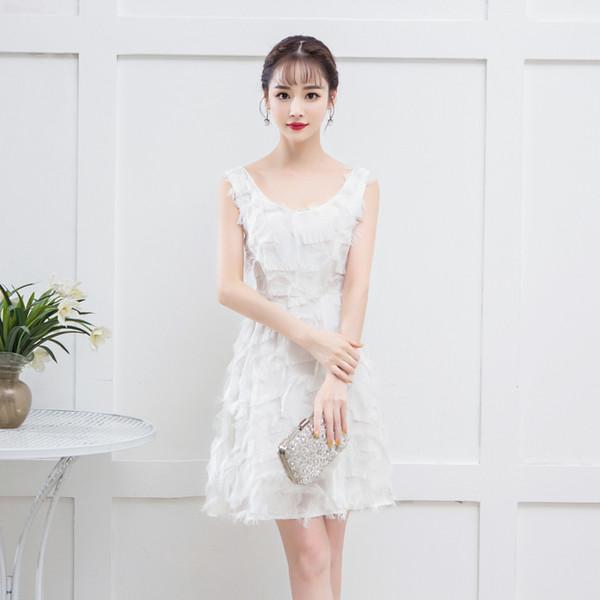 Knee-length Chiffon Sleeveless Luxury Sexy Short Elegant White Cocktail Dresses Short Formal Cocktail Dress party dresses 9378