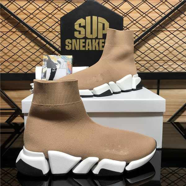 best selling Top Quality Men Women Pairs Luxury Designers Socks Trainers Sneakers Fashion Speed 2.0 Trainer Triple Black Outdoor Platform Casual Shoes