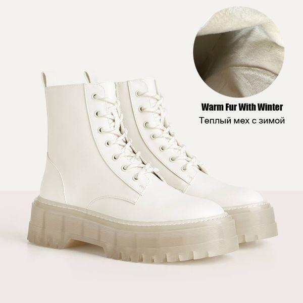 Kürk Beyaz Boots Warm