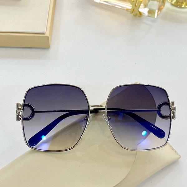 Gümüş çerçeve mavi lens