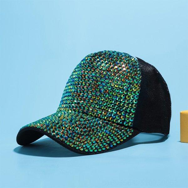 Schwarz + grüner Diamant-Tuch-Kappe