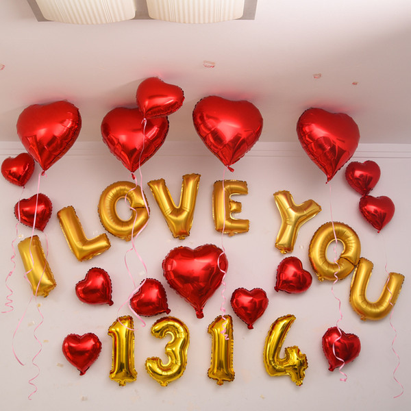 top popular 18 Inch Valentine's Day Letters A-Z Balloon Christmas Weeding Birthday Decorations Fashion Lovely Festival Party Balloon Supplies E122302 2021