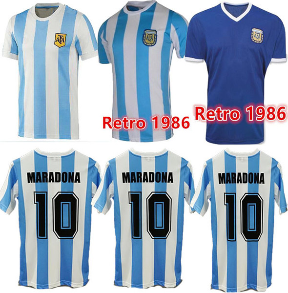 best selling best quality in stock 1978 1986 Argentina Maradona home Soccer jersey Retro Version 86 78 Maradona CANIGGIA Quality Football Shirt Batistuta