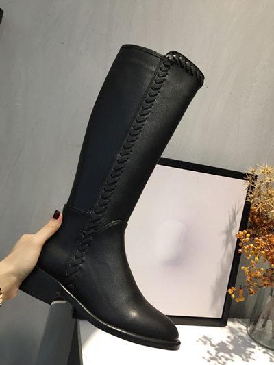 Bottes au genou + doublure de chaussures en cuir complet
