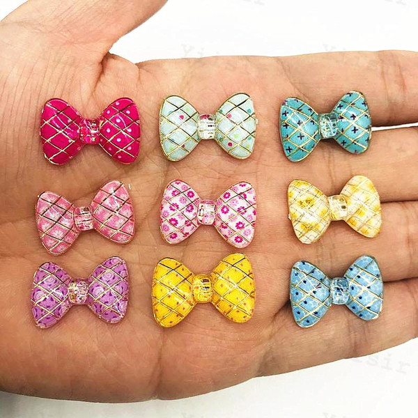 top popular Acrylic Bling Colorful Bows flatback rhinestone Ornaments DIY Wedding appliques craft Baby Shower Decor 2021