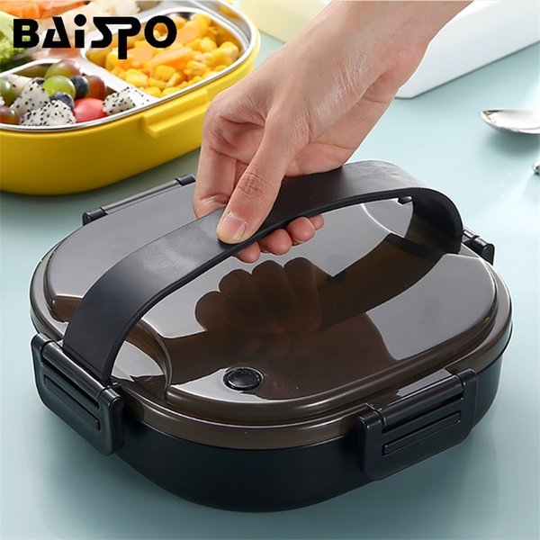 top popular Baispo Stainless Steel Lunch Box For Kid Heated Lancheira Termica Kitchen Accessories Bento Box Meal Prep Food Container Storage 201210 2021