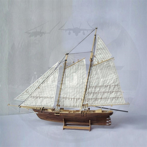 top popular LeadingStar 1:120 DIY Wooden Assembly Ship Model Classic Sailing Boat Laser Cutting Process Puzzle Toys Y200428 2021