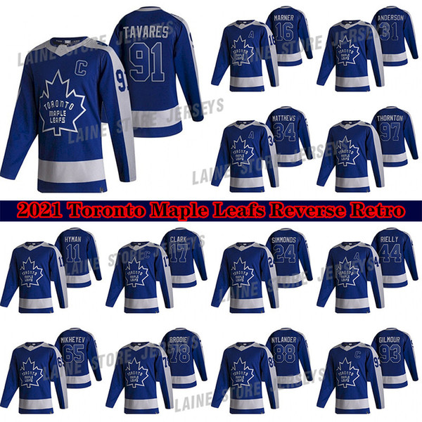 best selling Toronto Maple Leafs Jersey 2020-21 Reverse Retro 91 John Tavares 34 Auston Matthew 16 Marner 97 Joe Thornton 24 Simmonds Hockey Jerseys