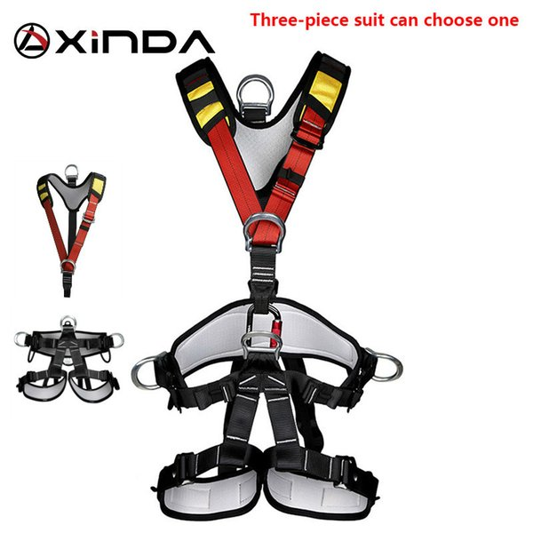 best selling XINDA Professional Rock Climbing Harnesses Full Body Safety Belt Anti Fall Removable Gear Altitude Protection Equipment 3-piece Q1118