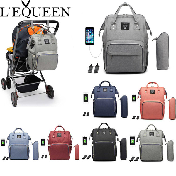 top popular Lequeen USB Mummy Maternity Nappy Bag Brand Large Capacity Baby Bag Travel Backpack Designer Nursing Bag for Baby Care Y200107 2021