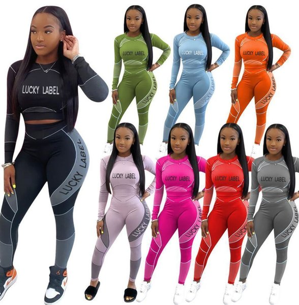 top popular Women Designers Tracksuits Womens 2 Piece Outfits Sexy Slim Positioning Letter Printed Long Sleeve Pants Laides New Fashion Sports Suits 2020